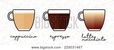 Espresso, Cappuccino, Latte Macchiato Coffee Mugs Set, Vector Illustration. Flat Coffe Icons Isolate