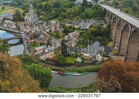 Aerial View Of Vallee De La Rance With Old Bridge Le Vieux Pont And 40 Meter High Viaduct Over River