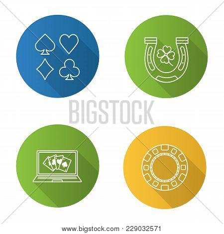 Casino Flat Linear Long Shadow Icons Set. Online Casino, Four Leaf Clover And Horseshoe, Gambling Ch