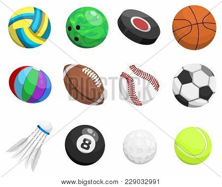 Sport Balls Vector Isolated On White Background Xollection Tournament Win Round Basket Soccer Equipm