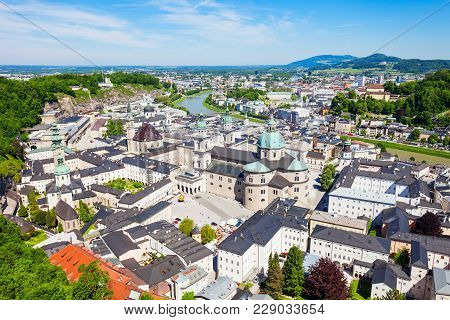 Salzburg City Aerial Panoramic View From Hohensalzburg Castle In Salzburg, Austria