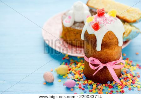 Traditional Russian Easter Bread Kulich Paska, Beautiful Easter Food Background