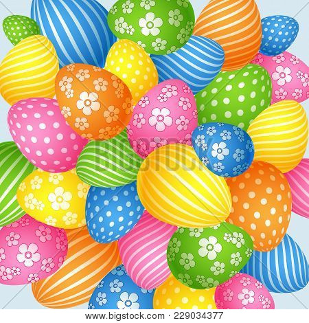 Bright Background Of Easter Eggs The Symbol Of The Holiday Element Of Design Creative Template For A