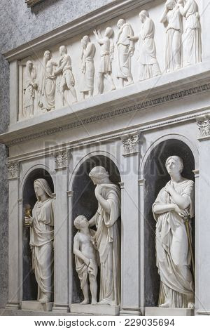 Rome, Italy - June 17, 2014: Interior Of The Church With Sculptures Of Saints And Martyrs  In Basili