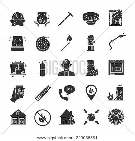 Firefighting Glyph Icons Set. Fire Station Equipment. Silhouette Symbols. Vector Isolated Illustrati