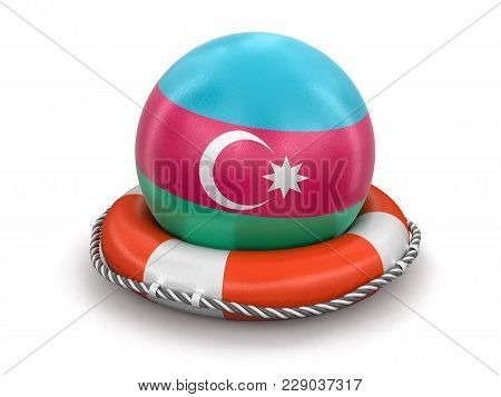 3d Illustration. Ball With Azerbaijan Flag On Lifebuoy. Image With Clipping Path