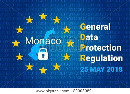 Gdpr - General Data Protection Regulation. Map Of Monaco, Eu Flag. Vector Illustration