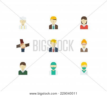 Profession Icons Set With Female Worker, Doctor And Chef Elements. Set Of Profession Icons Also Incl