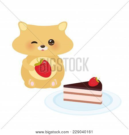 Cute Kawaii Hamster With Fresh Strawberry, Cake Decorated Pink Cream And Chocolate Icing, Piece Of C