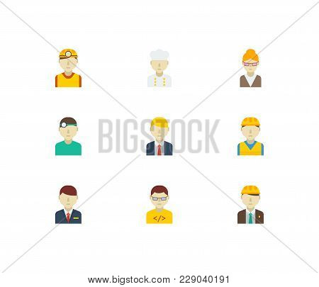 Profession Icons Set With Computer Programmer, Engineer And Manager Elements. Set Of Profession Icon