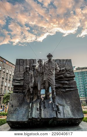 Katowice, Poland - July 3, 2016: Scouts Memorial Of Polish Scouts At Defenders Square In Katowice Ci