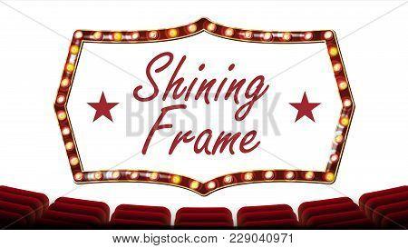 Retro Cinema Banner Vector. Light Bulbs. Red Theater Curtain. Silk Textile. Shining Retro Light Bann