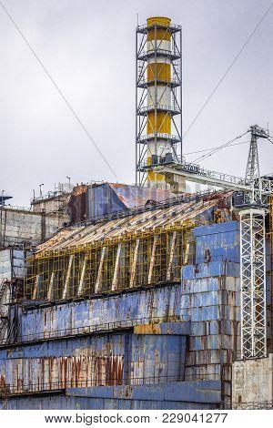 Chernobyl Zone, Ukraine - September 21, 2016: Old Shleter Of Damaged Reactor No 4 Of Chernobyl Nucle
