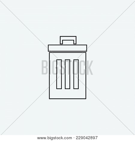 Delete Line Icon Isolated On Grey Background For Web Site Design, Logo, App