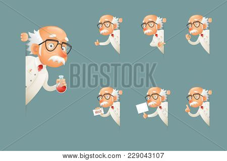 Adult Scientist Character Old Grandfather Look Wise Out Corner Icons Set Cartoon Design Vector Illus