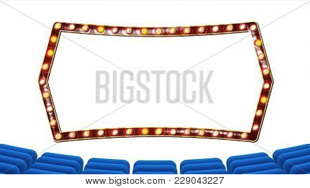 Blue Theater Curtain With Light Frame Vector. Blue Background And Light Bulbs Frame. Realistic Retro