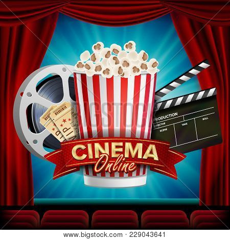 Online Cinema Banner Vector. Realistic. Film Industry Theme. Box Of Popcorn, Elements Of The Movie T