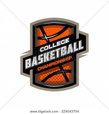 College Basketball, Sports Logo Emblem. Vector Illustration