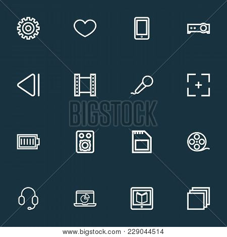 Media Icons Line Style Set With Film Reel, Sd Card, Charge And Other Gear Elements. Isolated Vector