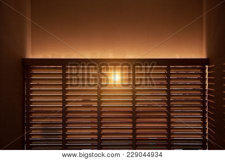 Sun Shining Through The Wooden Boards. Light Nature.