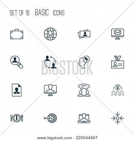 Business Icons Set With Business Card, Business Lunch, Target And Other Business Aim  Elements. Isol