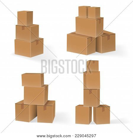 Set Of Stacks Of Cardboard Boxes. Eps10 Vector