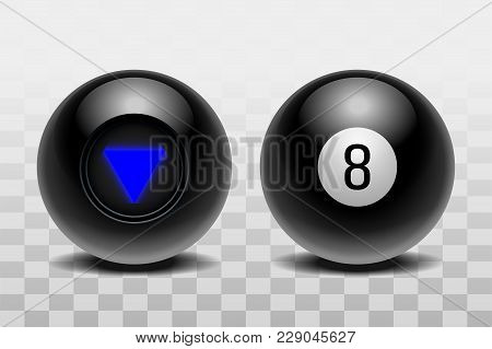 Two Magic Balls Of Predictions For Decision-making. Realistic Black Balls Isolated On A Transparent