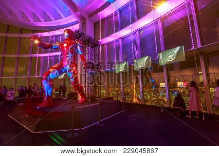 Tokyo, Japan - April 20, 2017: Iron Man Statue Of Marvel Age Of Heroes Exhibition At Mori Tower In R