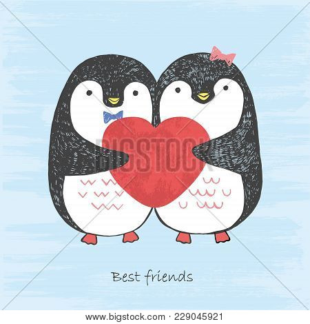 Vector Illustration Of Handd Drawn Sketch Loving Penguins With Scratched Heart In Their Hands Isolat