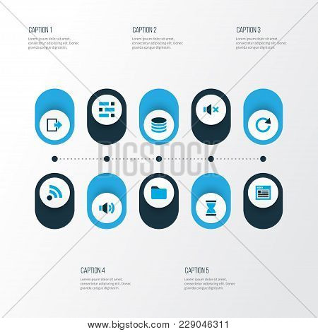 User Icons Colored Set With Browser, Sound, Hourglass And Other Dossier Elements. Isolated  Illustra