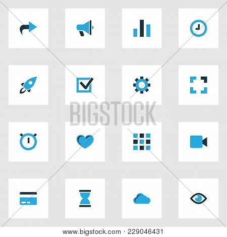 Interface Icons Colored Set With Ahead, Video, Hourglass And Other Watch Elements. Isolated  Illustr
