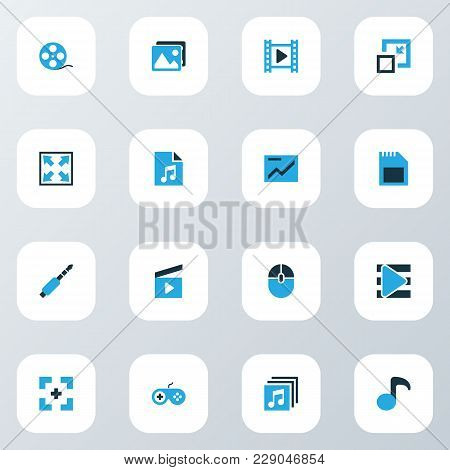 Multimedia Icons Colored Set With Full Screen, Jack, Widen And Other Playlist Elements. Isolated  Il