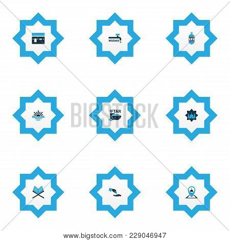 Ramadan Icons Colored Set With Koran, Masjid, Maghrib And Other Pinpoint Elements. Isolated  Illustr