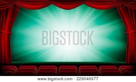 Theater Curtain Vector. Theater, Opera Or Cinema Scene. Green Background. Banner, Placard, Poster De