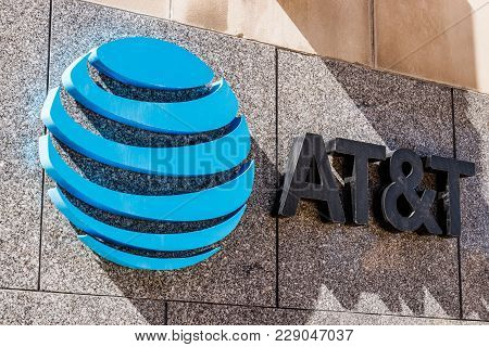 Indianapolis - Circa February 2018: Downtown At&t Central Office. At&t Now Offers Iptv, Voip, Cell P