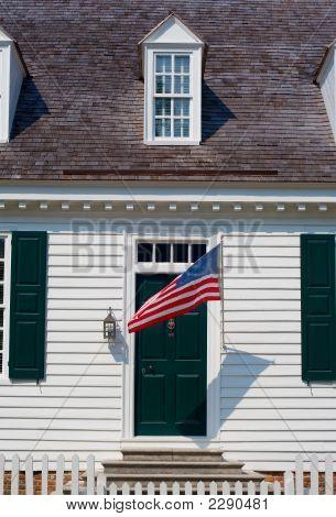 White Colonial House Facade