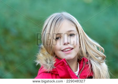 Child In Red Coat Enjoy Idyllic Autumn Day. Innocence, Purity And Youth. Happy Childhood Concept. Gi