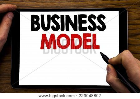 Handwriting Announcement Text Showing Business Model. Business Concept For Solution Strategy Plan Wr