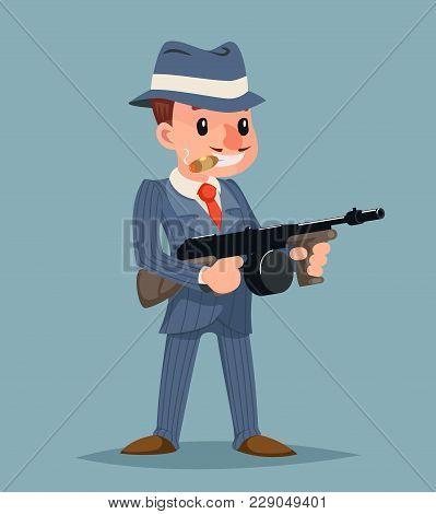 Gangster With Submachine Gun Thug Criminal Icon Character Retro Cartoon Design Vector Illustration