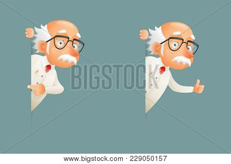 Old Wise Scientist Character Look Out Corner Cartoon Icons Design Vector Illustration