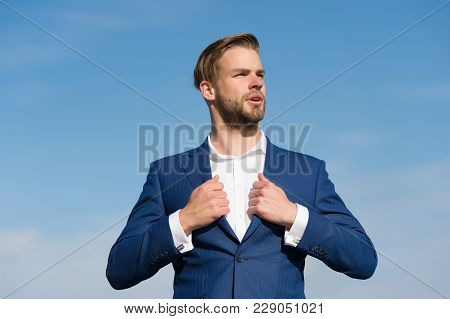 Businessman Stand On Blue Sky, Success. Man In Business Suit, Fashion. Success, Ambition, Freedom, A
