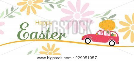 Happy Easter. Rabbits In Car With Big Easter Egg And Flower Pattern. Text : Happy Easter