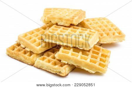 Traditional Waffle (belgian) Stack Isolated On White Background Sweet Delicate Airy