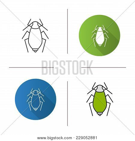 Aphid Icon.flat Design, Linear And Color Styles. Insect Pest. Plant Lice. Isolated Vector Illustrati