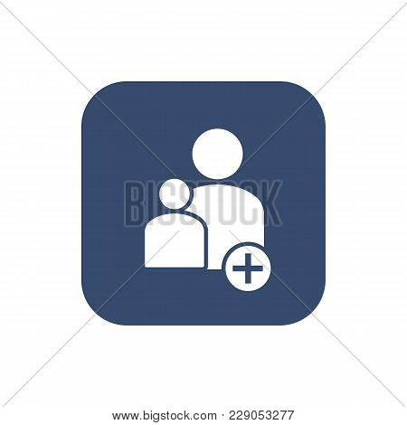 Add New User Account Flat Icon For Apps. Vector Illustration