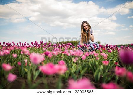 Young Beauty Relaxing In The Tulip Fields With Beauty Sky