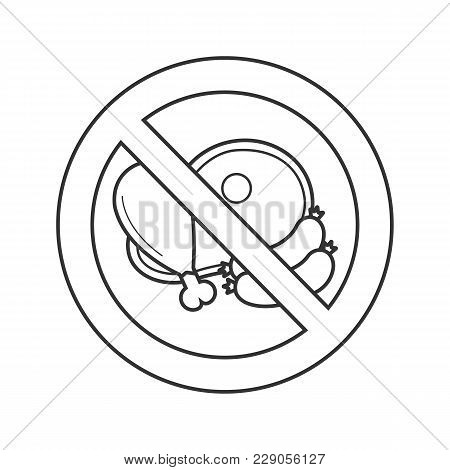 Forbidden Sign With Meat Products Linear Icon. Thin Line Illustration. Sausage, Ham, Chicken Leg In