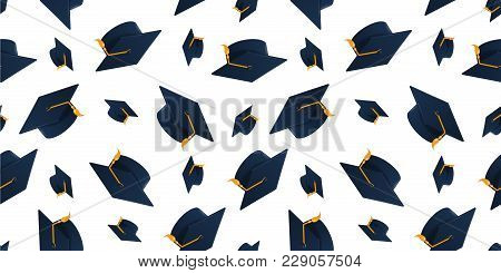 Graduation Cap Seamless Pattern. Endless Background With Academic Hat At The Air
