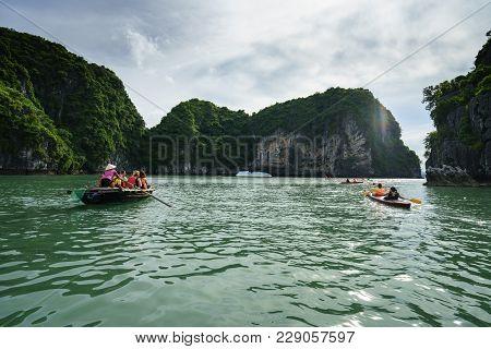 Quang Ninh, Vietnam - Aug 12, 2017: Halong Bay In Vietnam, Unesco World Heritage Site, With Tourist
