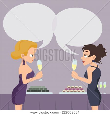 Two Women With Speech Bubbles Talking And Drinking At Reception - Funny Vector Cartoon Illustration